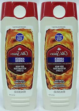 2 Old Spice AMBER With BLACK CURRANT For Men Boys Body Wash