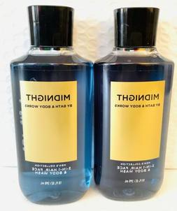 2 Bath & Body Works MIDNIGHT FOR MEN 2-in-1 Hair Body Wash S