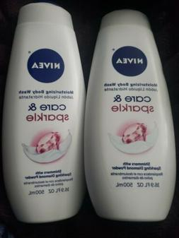 2 Nivea Moisturizing Body Wash Care & Sparkle 16.9 oz