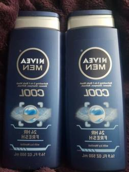 2 Nivea Men Cool Body Wash 16.9 oz 24 hr Fresh With Icy Ment
