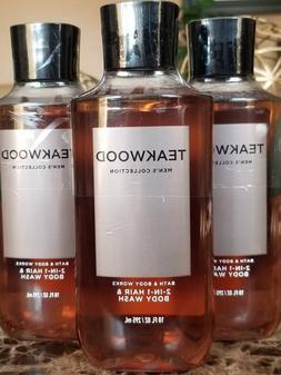 3 Bath & Body Works TEAKWOOD FOR MEN 2-in-1 Hair Body Wash S