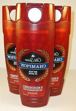 3 Bottles Old Spice CHAMPION 8 Hour Scent TECHNOLOGY Body Wa