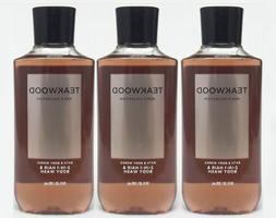 3 Bath & Body Works TEAKWOOD 2-in-1 Hair + Body Wash Shower