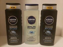 3 Nivea Men Body Wash: 2 New Deep Clean Rock Salts & 1 Pure
