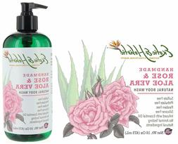 Rose and Aloe Vera Handmade Natural Body Wash 16 FL OZ By Ex