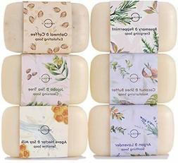 6 Piece Moisturizing Body Wash Soap Bar Collection,Vegan Tri