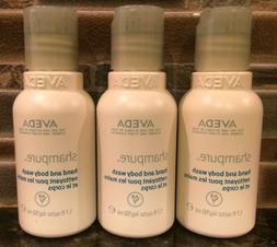 AVEDA Set of 3 Shampure Hand and Body Wash bottles 1.7 fl oz