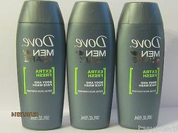 Lot of 3 Dove Men + Care Face and Body Wash -Extra Fresh 1.8