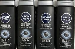 NEW! 4 NIVEA For Men **ACTIVE CLEAN* Body Wash NATURAL CHARC