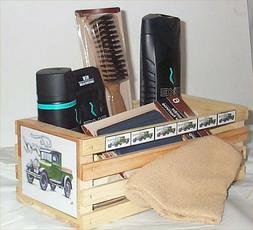 Axe Gift Basket Wood Crate Apollo Body Wash Deoderant Comb w