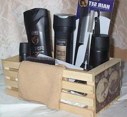 Axe Gift Basket Wood Crate DarkTemptations Body Wash Fragran