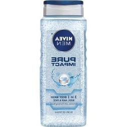 Nivea 3-in-1 Pure Impact Body Wash for Men 16.9 Ounce  New F