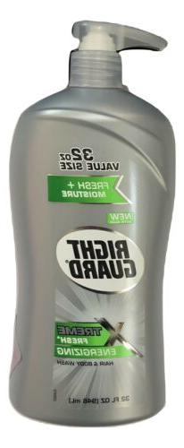 1X JUMBO Right Guard Xtreme Fresh Energizing Hair & Body Was
