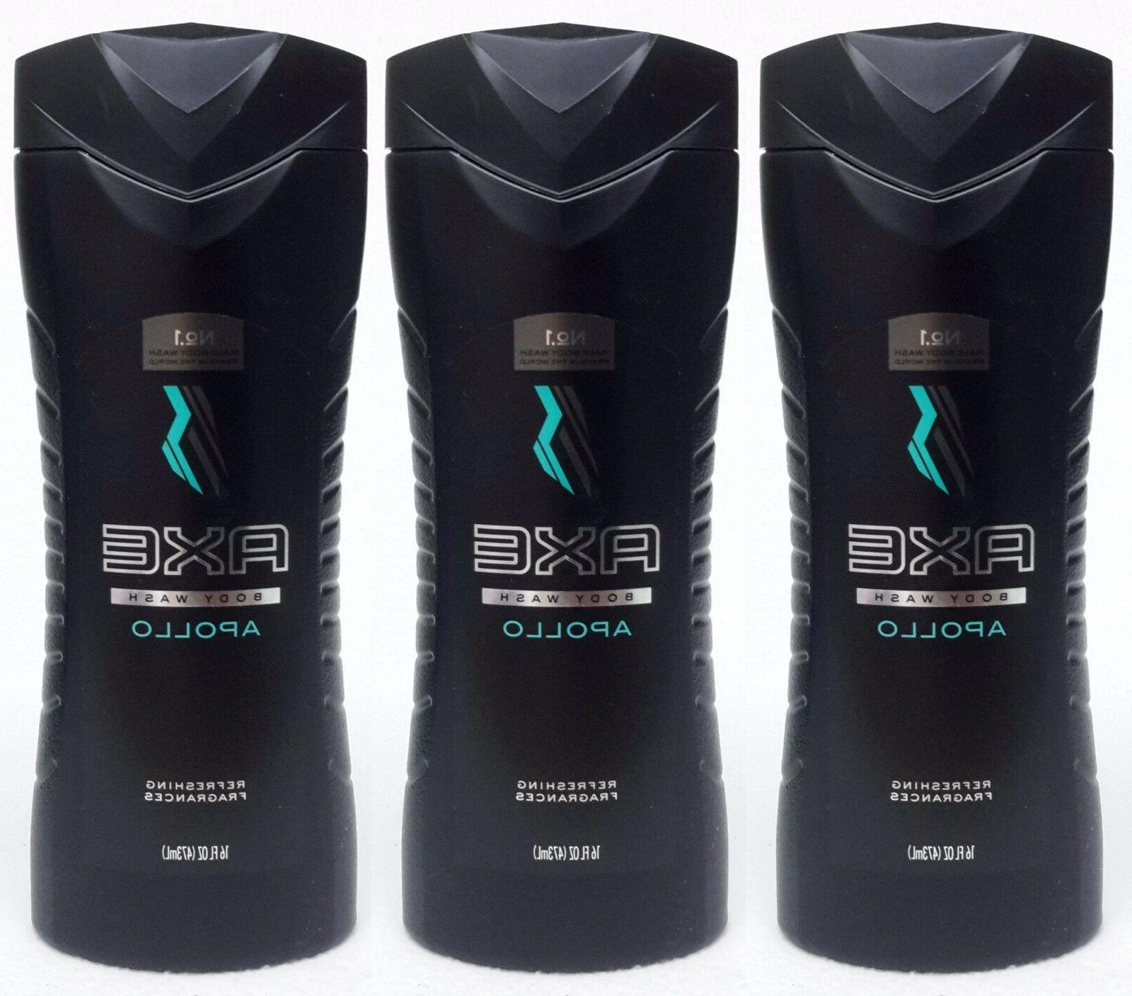 3 Axe for Men APOLLO Refreshing Fragrances Body Wash Shower