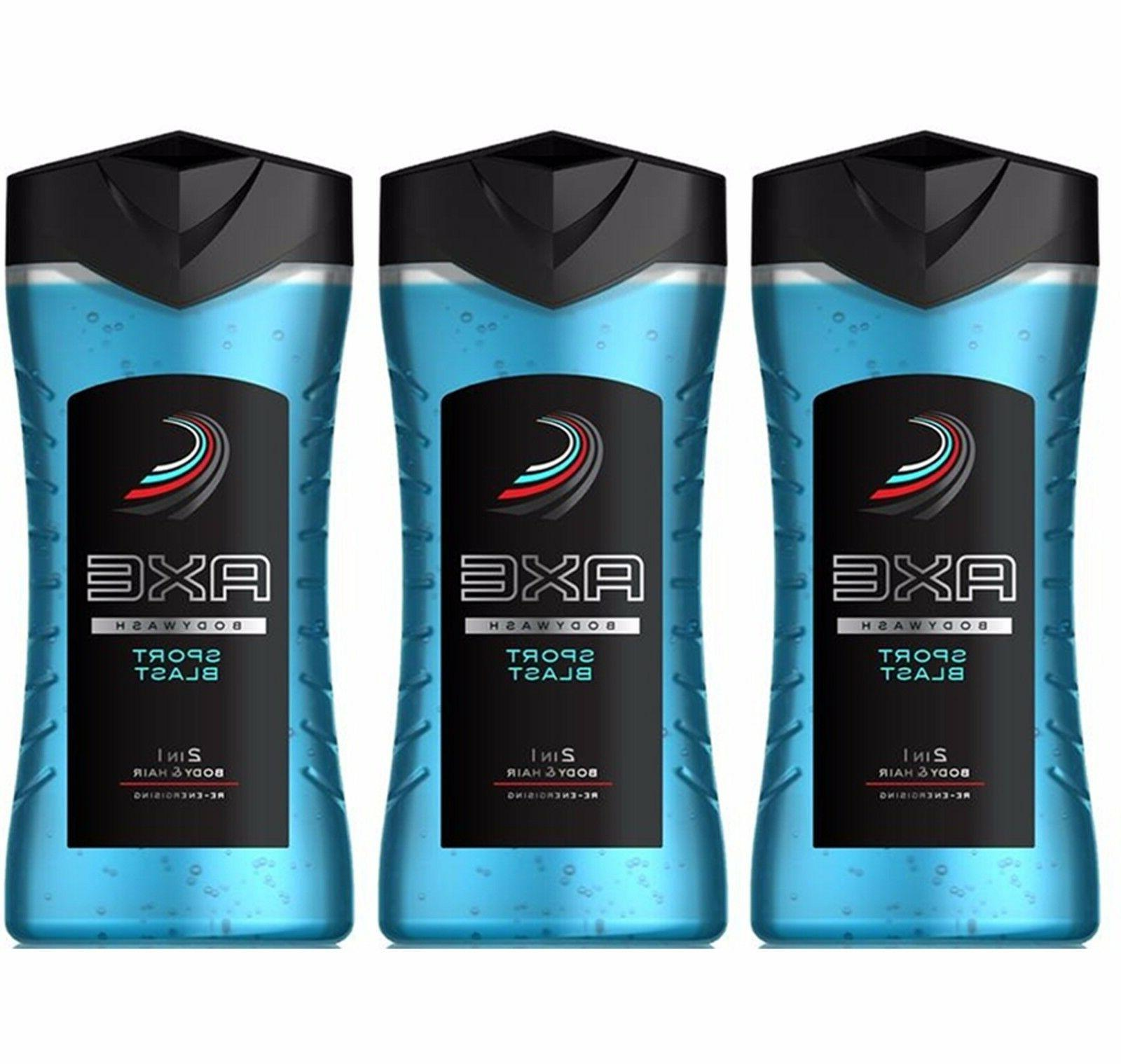3 x Axe Sport Blast Shower Gel / Body Wash 250ml = 8.45 oz /