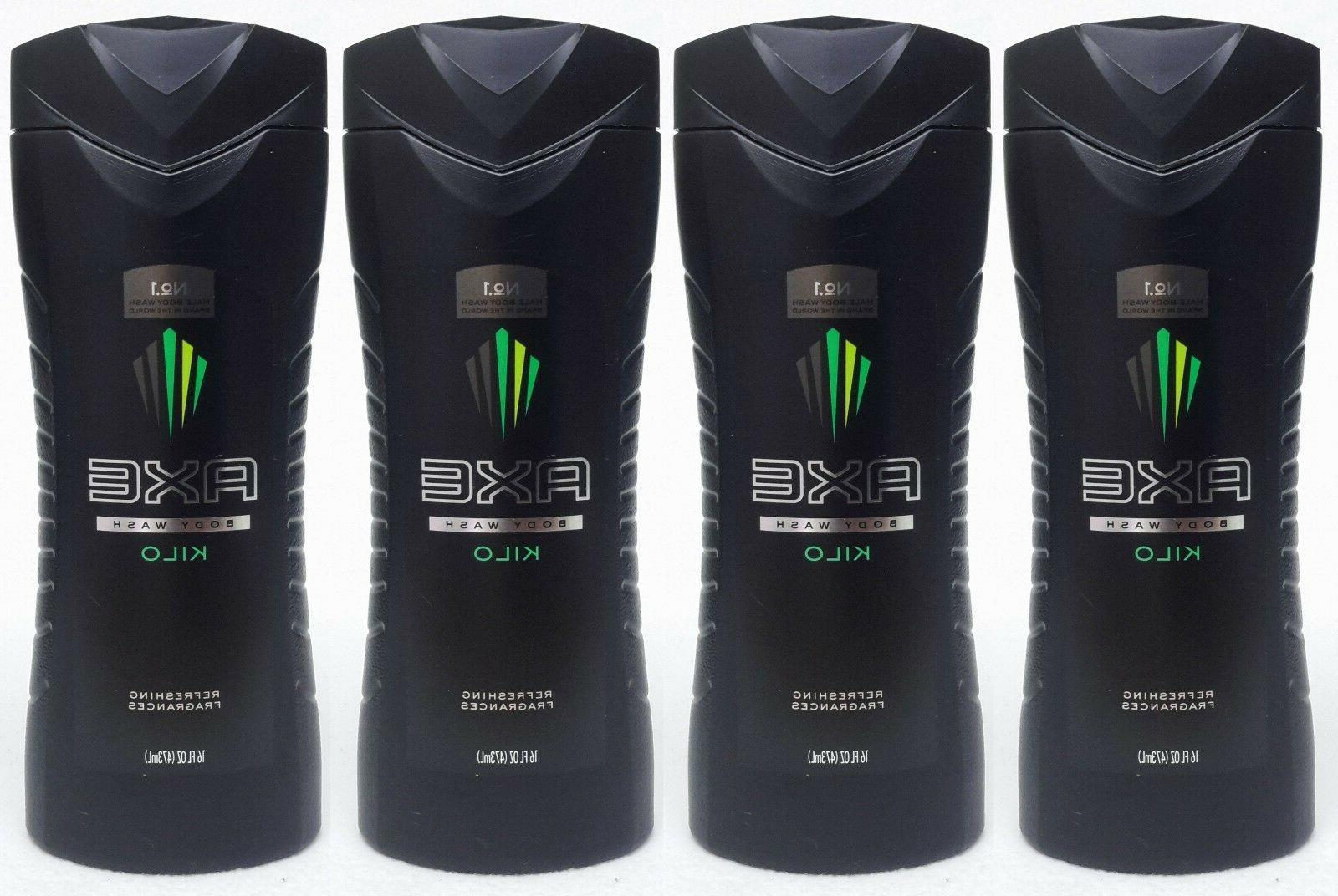 4 Axe for Men KILO Refreshing Fragrances Body Wash Shower Ge