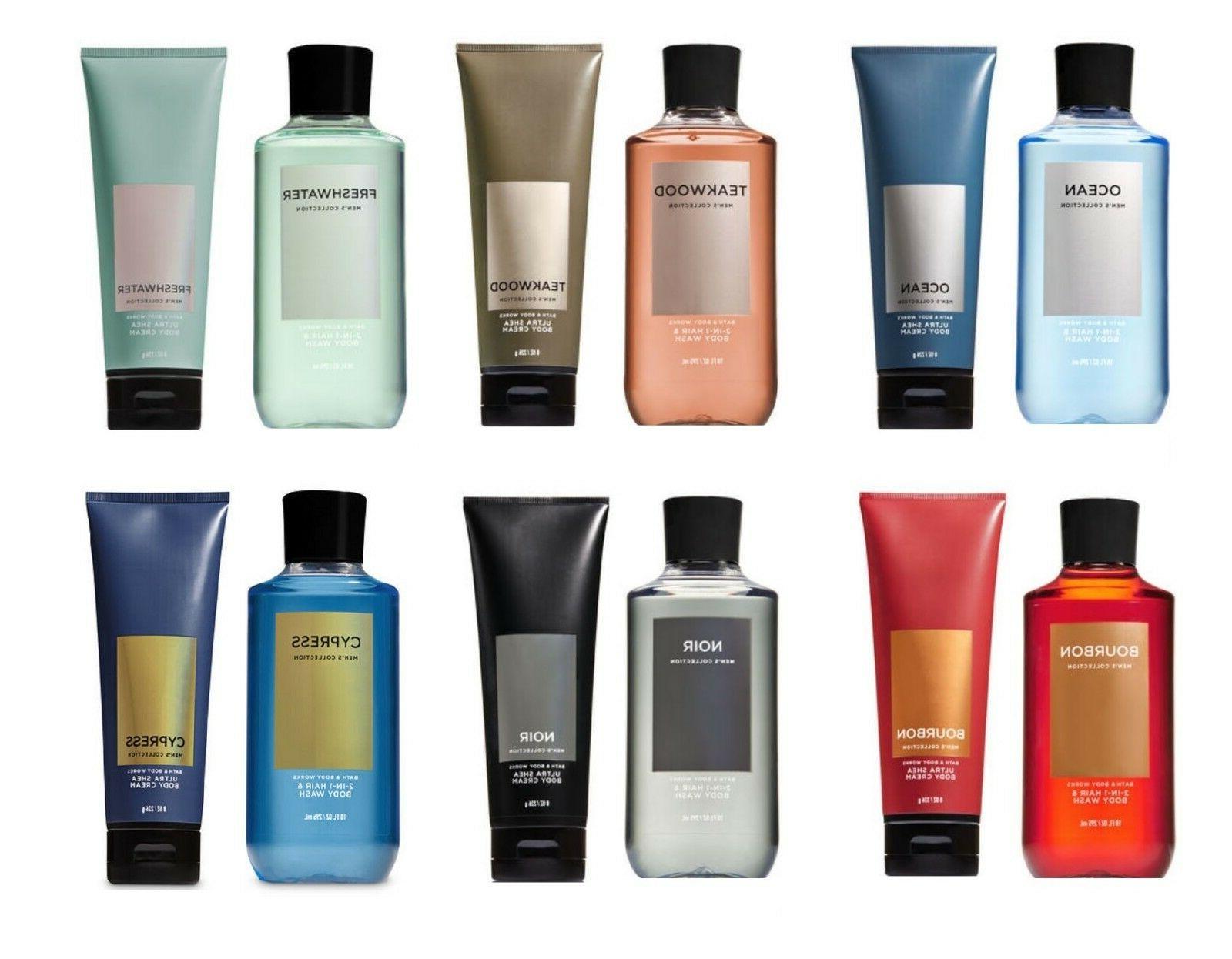 Bath and Body Works Men Set Body Cream & 2-in-1 Hair + Body