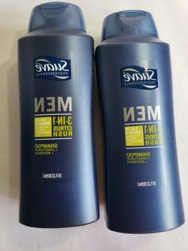 New 2 Pack Suave Men Citrus Rush 3 in 1 Shampoo Conditioner