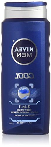 Nivea 3 in 1 Body Wash with Menthol Cool 16.9 Fl Oz