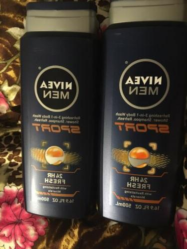 Nivea for Men Sport 3-in-1 Body Wash, 16.9 Fluid Ounce