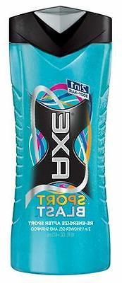 Axe Sports Blast-2 in 1 Shower Gel & Shampoo, 16 Ounce