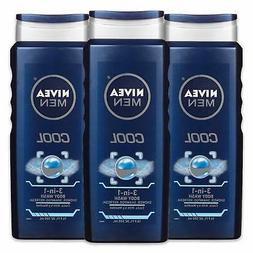 NIVEA Men Cool 3-in-1 Body Wash-Shower, Shampoo,Refresh With