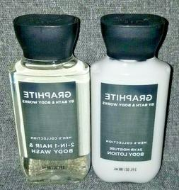 NEW Men's Graphite TRAVEL Body Lotion & 2-in-1 Hair/Body Was