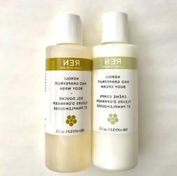 new unboxed Ren Neroli grapefruit body wash and body cream e