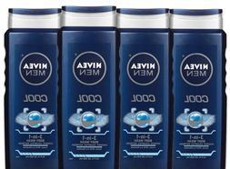 Pk of 4, Nivea Men Cool 3-in-1 Body Wash, 16.9 Fl. Oz Each