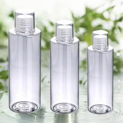 Refillable Empty Screw Lids Plastic Clear Shampoo Toner Top