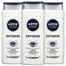 NIVEA Men Sensitive 3-in-1 Body Wash - Shower, Shampoo and R